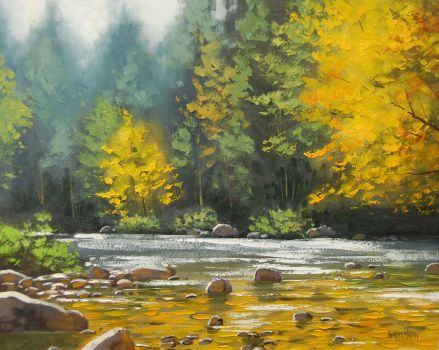 Autumn River Painting by artsaus