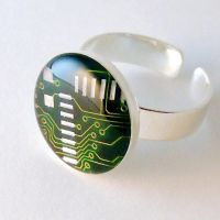 Exquisite Circuit Board Domed Ring by Techcycle