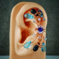 Blue and Copper Fairy Ear Cuff by sylva