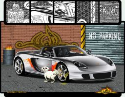 Vector Porsche and dog by halil-art