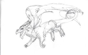 Sketch of the European dragon by archi-the-night