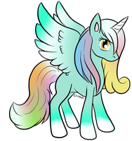 Rainbow Sno-Cone Alicorn Adopt - CLOSED by Piyos-Adoptables