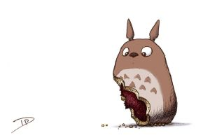Totoro Red Bean Cake Nom by thedanimator