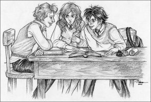 HP art - In The Library by lizard-spots