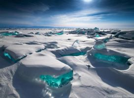 emerald colored ice of lake baikal by Designslots
