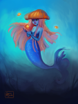Mermaid With Jellyfish Hat by saratopale
