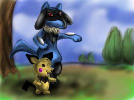 Riolu and pichu for toadettegal-tk by pie-lord