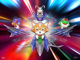 Starfox Babies Cute Digital Painting by studiomuku
