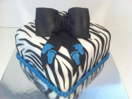 Zebra Babyshower Cake by Corpse-Queen