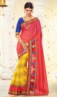 Red-and-Yellow-Georgette-Silk-Half-N-Half-Saree-FD by ethniclover
