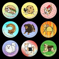Food Dogs Buttons by Birvan