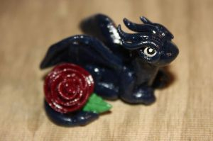 Blue Drake with Rose by Aluciel286