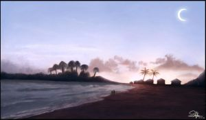 Beach at Sunset by KAVALIER