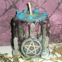Triple Pentacle Candle by grimdeva