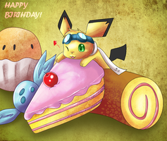 Pichu Birthday by Deruuyo