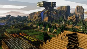 [Rendered|1080p] Minecraft View Above the Farm by SyncedsArt