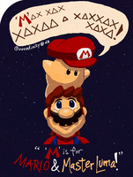 SMG2 Mario and Master Luma by UUUinfinity