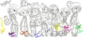 Digimon Group 2 sketch. by o0Essa0o