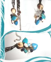 Necklace/Collier Blue Brown by LadyMelodie