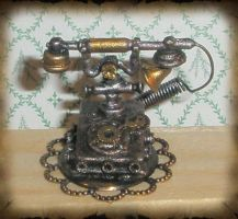 Steampunk Telephone Miniature by grimdeva