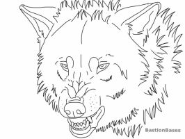 Free Snarling Wolf Lineart by BastionBases