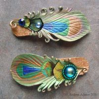 Leather Peacock Feather Clips by Beadmask
