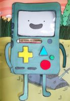 Handmade Stand-Up Adventure time BMO Card *Front* by PossumPip-Creations