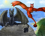 [request] Toothless and Red Ice by Diamondfeathers