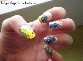 Pokemon nail art! by Lady-Eilnys