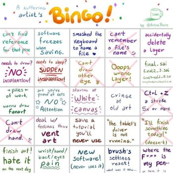 A Suffering Artists Bingo by AquaLillyStar