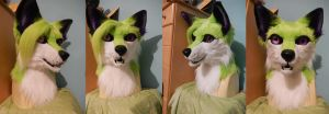 Green Fox Head by AlieTheKitsune