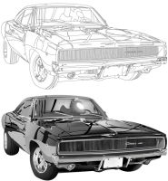 68 Dodge Charger outline by TheJarf