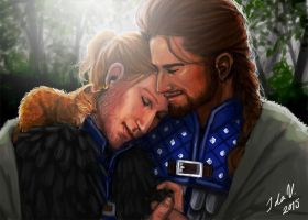 Anders and the Warden Commander by IdaHarra