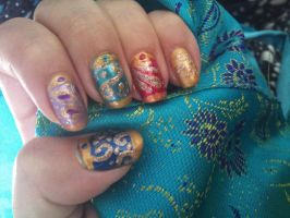 Arabian pillow nail art by amanda04
