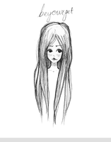 Long Haired Girl Sketch by beyourpet