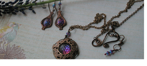 Dragon Scales Necklace color changing stone by artistiquejewelry