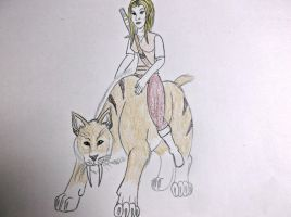 Girl riding saber tooth tiger by ShadowOrder7