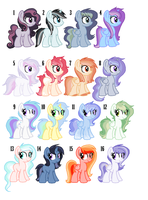 Pony adopts set 1. CLOSED by StarDust-Adoptables