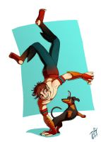 An acrobat and a dachshund by iisjah