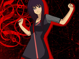 momo uchiha with background by RainbowCoffeeQueen