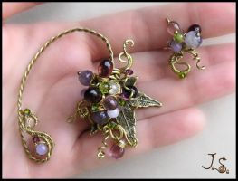 Wild grapes set of ear cuffs by JSjewelry
