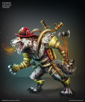 Fenrir Firefighter Skin  Concept Commission by karulox