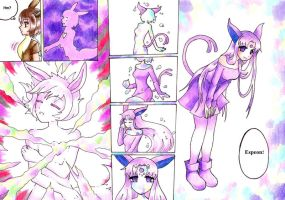 Eevee evolves to Espeon by nya-nannu