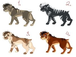 Saber-tooth Adoptables (Closed) by iheartart132