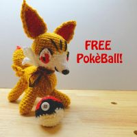 Crochet Fennekin Plush by gelasiakitty