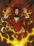 Dark Phoenix Pin Up Acrylic Final by RobertDanielRyan