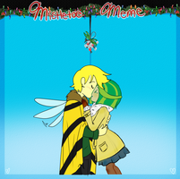 AT Mistletoe meme: Nic and lily by TheLittlehoneybee
