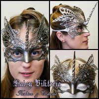Silver Venetian Filigree Unicorn Mask by DaisyViktoria