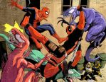 Spidey, DP and Venomosaurs by ReillyBrown