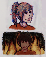 Annabeth and Leo Doodles by Deesney